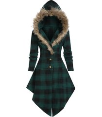faux fur hooded plaid print lace-up skirted coat