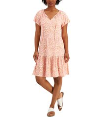 style & co printed tie-neck dress, created for macy's