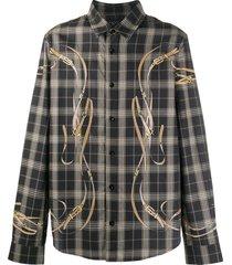 amiri falcon belt flannel shirt - black