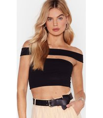womens a little time off-the-shoulder crop top - black