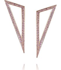 modernist rose gold pink sapphire triangle earrings