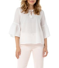 women's liverpool ruffle sleeve popover blouse, size x-large - white