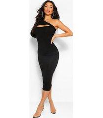 bodycon midaxi-jurk met één uitgesneden schouder, zwart