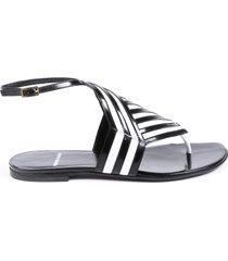 pierre hardy buren black white striped thong sandals black/white sz: 7