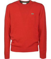 lacoste logo embroidered sweater