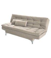 sofá-cama 3 lugares casal pratic suede liso areia
