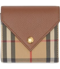 burberry vintage check wallet - brown