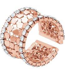 anello a fascia con strass in metallo rosato per donna