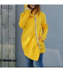 zanzea mujer de manga larga con cremallera capa ocasional asimétrica hem suda la camiseta -amarillo