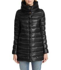 women's herno amelia high/low down jacket, size 6 us - black