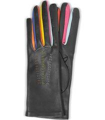 forzieri designer women's gloves, arlecchino black leather women's gloves w/silk lining