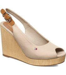 iconic elena sling back wedge sandalette med klack espadrilles beige tommy hilfiger