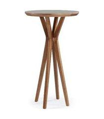 mesa bistro recife estrutura madeira tampo vidro off white base mel 106cm - 56634 off white