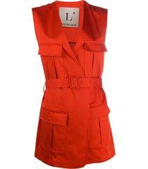 l'autre chose cargo-pocket belted vest - red