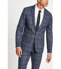 river island mens bright blue check skinny suit jacket