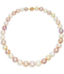 14k yellow gold & 12-9mm south sea & kasumiga cultured pearl necklace/18""