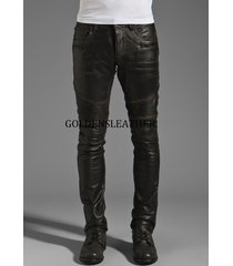 casual men leather pant genuine real leather trouser men biker leather pant-us04