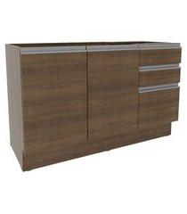 balcão gabinete de pia madesa glamy 2 portas e 3 gavetas + porta-talheres rustic cor:rustic