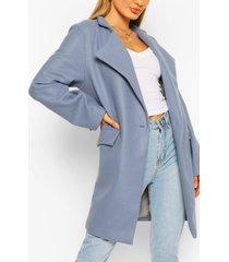 notch neck wool look coat, dusty blue