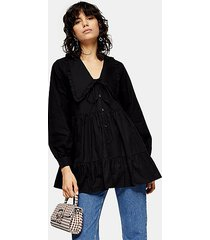 black tiered collar poplin blouse - black