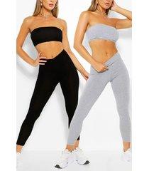2 pack basic bandeau & legging co-ord set, multi