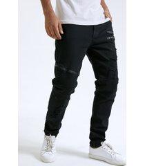 hombre casual black cremallera diseño ripped skinny jeans