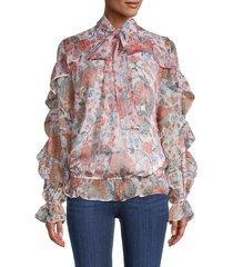 walter baker women's cornflower-print ruffled blouse - cornflower - size xs