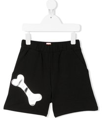 wauw capow ace bone detail shorts - black