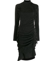 almaz gathered drawstring midi dress - black