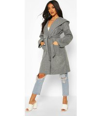 hooded belted utility pocket wool look coat, grey