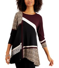 alfani abstract-print swing top, created for macy's