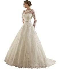 ball gown lace wedding dresses long sleeves,wedding gown,bridal gown cheap ivory
