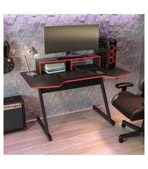 mesa computador gamer 136cm kappesberg l100 preta e vermelha