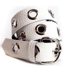cinturón blanco la vie est belts front hebilla redonda