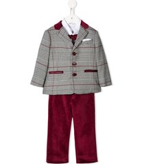 colorichiari tweed suit set - red