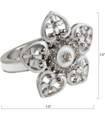 saro lifestyle bejeweled napkin ring with floral design, set of 4