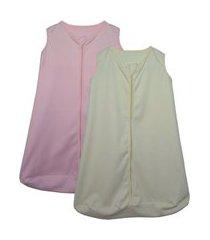 kit 2 saco de dormir bebê rosa e amarelo enxoval pijama 100% algodão