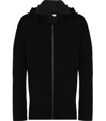 bottega veneta ribbed zip-up hooded cardigan - black