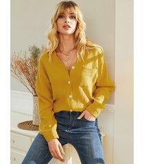blusa de manga larga con cuello en v y diseño de bolsillo amarillo yoins