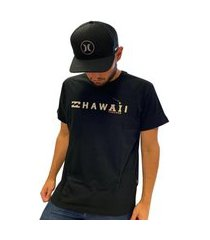 camiseta billabong hawaii masculina manga curta