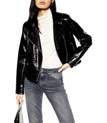 women's topshop croc embossed faux leather jacket, size 14 us (fits like 16-18) - black