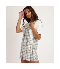 salopete feminina estampado de xadrez com zíper e bolsos off white