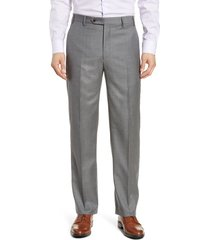 men's zanella todd relaxed fit flat front solid wool dress pants, size 44 - grey