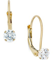 cubic zirconia leverback drop earrings (1/2 ct. t.w.) in 10k gold