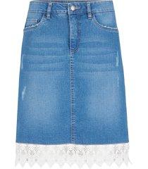 gonna di jeans elasticizzato morbido con pizzo (blu) - john baner jeanswear