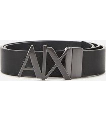 armani exchange men's ax buckle belt - black - w34