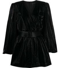 federica tosi belted vinyl mini dress - black