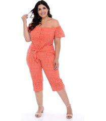 conjunto plus size marileti de pantacourt em laise coral - laranja - feminino - dafiti