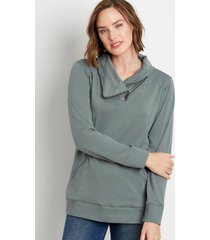 maurices womens solid zipper cowl neck pullover sweatshirt green