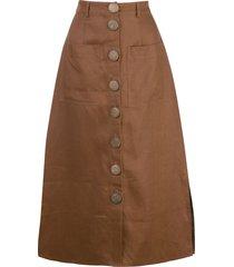nicholas stitched panel skirt - brown